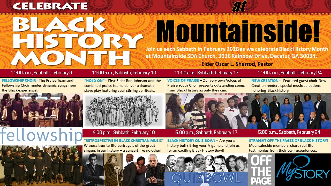 photograph relating to Black History Month Quiz Printable identified as Black Record Thirty day period 2018 Mountainside 7th-working day